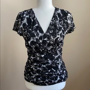 INC Cris - Cross Black and White top with Ruching